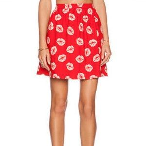Sam Edelman Lip Skirt Enchanted Kiss Red Size 2